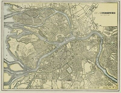 St. Petersburg Russia Street Map: Authentic 1887 with Stations & Landmarks