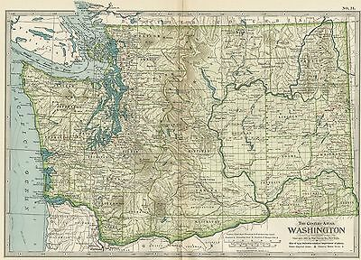 WASHINGTON State Map: Authentic 1897 (Dated) Towns, Counties, Railroads, Topog.
