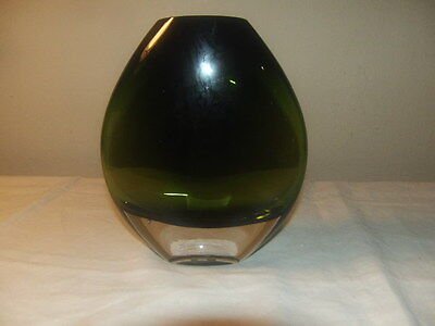 PartyLite Oval Dark Green & Clear Glass Vase P90047 Weighted Bottom