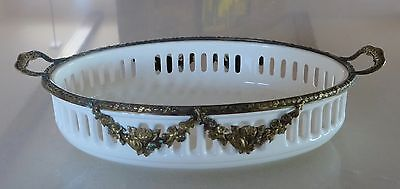 Antique Porcelain Ceramic Reticulated Tray Dish Ormolu Roesler or Waechtersbach?