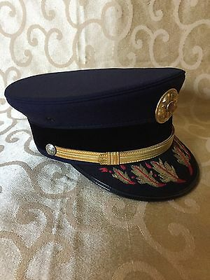 Vintage Navy Blue Fire Chief Formal Dress Hat Sentry USA UNION BADGE Fireman