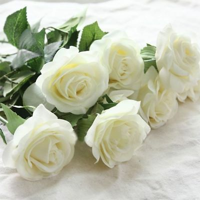 Real Latex Touch 20Pcs Silk Rose Flower Bouquet Wedding Party Decor White