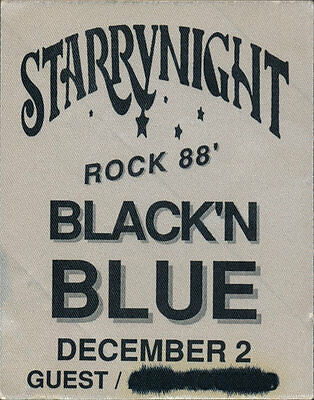 Black N Blue RARE 12/2/1988 Starry Night Portland Backstage Guest Pass - Rock 88