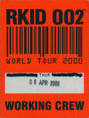 Oasis RARE ORIGINAL World Tour 2000 Working Crew Backstage Pass - Portland, OR