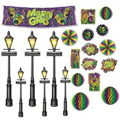 Mardi Gras Insta-Theme Decor & Street Light Backdrop Props Set