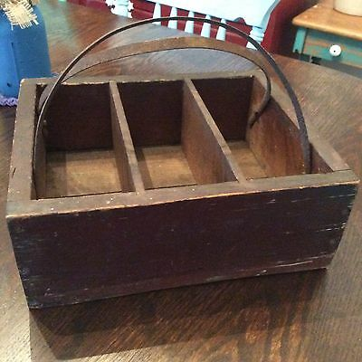 Antique Aafa Old Wood Primitive Shaker  Rustic Kitchen Large  Tote Tray Cutlery