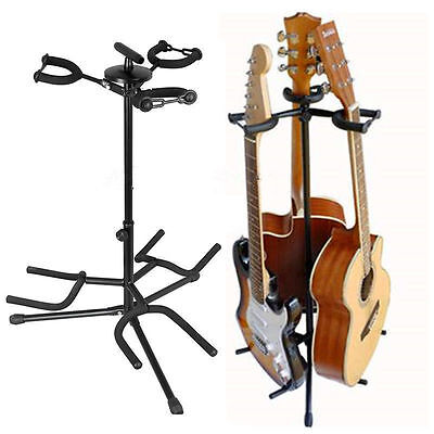 TRIPLE GUITAR STAND adjustable universal electric acoustic bass 3 way rack floDM