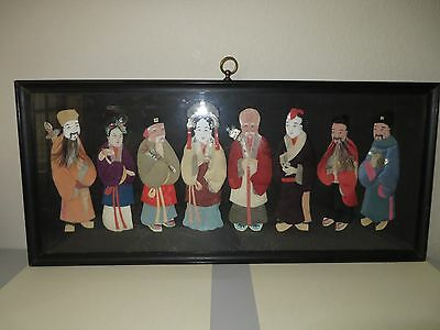 19Th Century Chinese Paper Dolls (8) Immortals In Padded Silk Rare Framed Estate