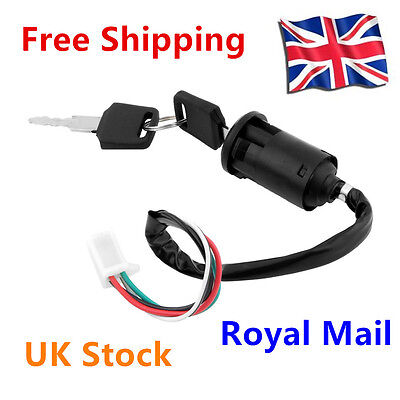 Universal Ignition Switch 4 wires 2 Keys Motorcycle Scooter Pit Dirt Bikes QuaDM