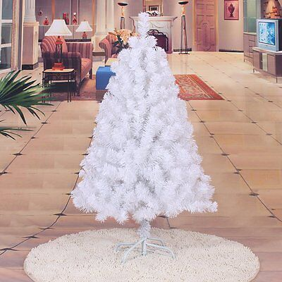 White 5Ft Artificial Christmas Tree Metal Stand Holiday Season Indoor Outdoor DK