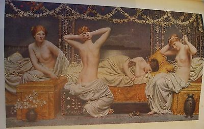 Antique Print C1930S A Summer Night By Albert Moore Nude Painting Vintage Art