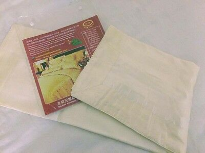 100% silk stripe Genuine Chinese PAIR OXFORD pillowcases  - IVORY