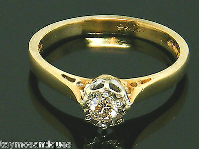 9k Gold 9ct solid gold  vintage diamond solitaire engagement ring  size k Boxed