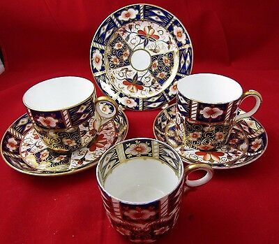 Royal Crown Derby Imari 2451 Coffee Cups, Saucers & A Plate