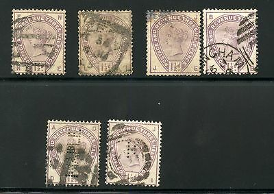 Great Britain Queen Victoria  Scott#99   Sg#62  Lot Of 4  Used  Plus Two  Perfin