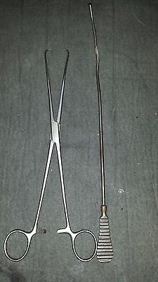 2 Antique Vintage Surgical Instrument 1800S Foreign Body Probe Bullet Extractor