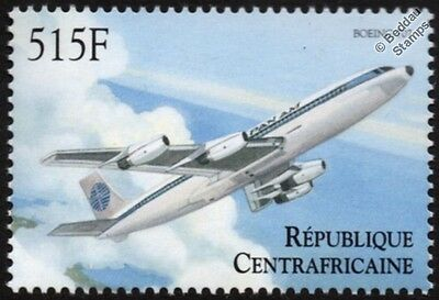 PAN AM Boeing B-707 Airliner Aircraft Stamp (2000 Central African Republic)