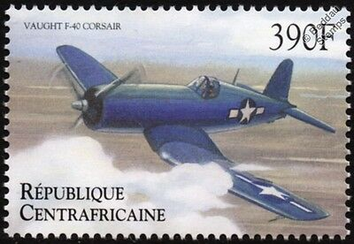 WWII Vought F4U CORSAIR Fighter Aircraft Stamp (2000 Central African Republic)