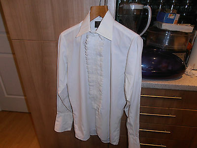"""1970s Rocola Frilled Front White Evening Dress Shirt size 15"""""""