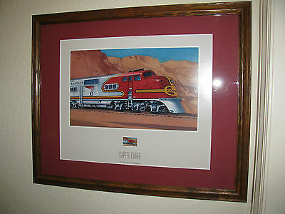 """Print """"Super Chief"""" Train Picture with Postage Stamp All Aboard Series,Ted Rose"""