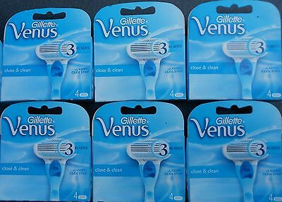 24 X Gillette Venus Close And Clean Womens Razor Blades Uk Stock