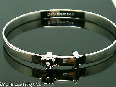 Solid Silver 925  extendable childs diamond bangle