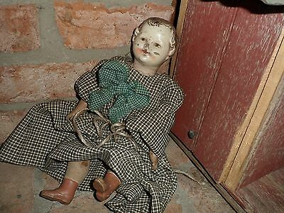 """Antique Baby Doll - Straw Stuffed Cloth With Hard Face & Hands 13"""""""