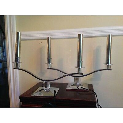 Pair Of Vintage Retro/ Art Deco 1940s Chrome And Lucite Candelabra Lamps