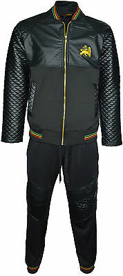 Mens Pvc Rasta Tracksuit Set Lion Of Judah Logo On Front Imitation Quilted Arms