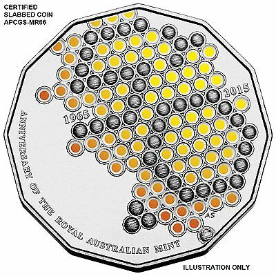 "2015  50 cent Coin , "" 50th Anniversary of RAM ""  Coloured ,          APCGS-MS66"
