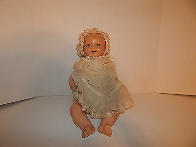Antique Madame Hendren Baby Composition / Cloth w Crier Doll Christening Gown