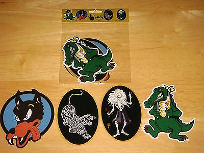 NEW Jerry Garcia GUITAR STICKER SET 4 Wolf Tiger Rosebud Alligator grateful dead