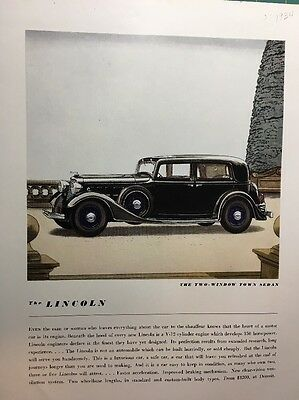 Original Vintage Lincoln Two-Window Town Sedan 1934 Ad