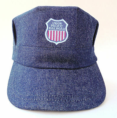 Engineer's railroad cap denim Union Pacific Railroad Made in the USA adjustable
