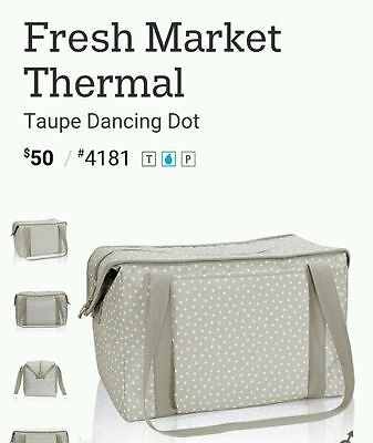 Thirty-One Gifts Fresh Market Thermal Taupe Dancing Dots Picnic Tote Grocery Bag