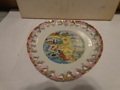 Vtg porcelain heart shaped state plate Florida map Quality Product Made in Japan
