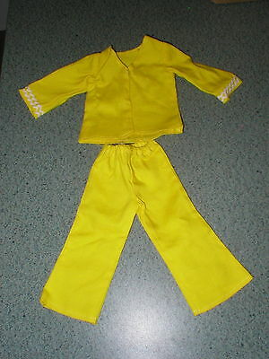 Vintage 1960's CRISSY Doll 2 Piece Clothing Set Bright Yellow Bell Bottom Pants