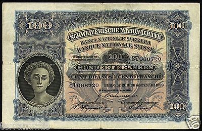 e011 SWITZERLAND SUISSE 100 FRANKEN FRANCS 1939 VF