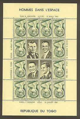Togo 1962; Astronauts Of 1961; Complete Of 4 Miniature Sheets; Sc # 417-420; Mnh