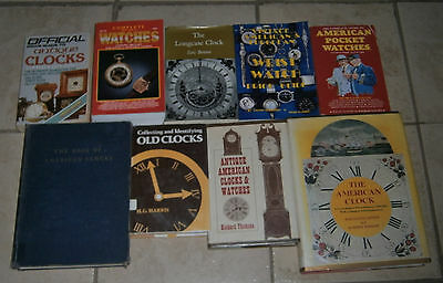 Lot 9 CLOCKS WATCHES Books Pocket Wristwatches Clock Collector's guides