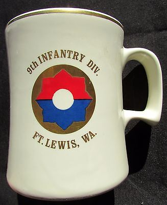 Vintage US Army 9th Infantry Division Stein - Ft. Lewis WA -  Old Reliables