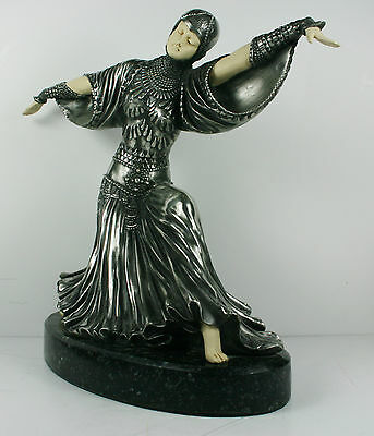Art Deco Chiparus Dancer Statue Figurine Cold Cast and Polished & Ivory Effect