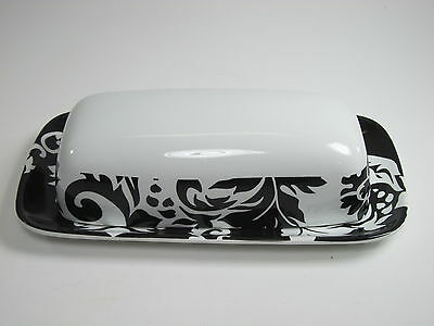 222 Fifth Damask 1/4 Pound Butter Dish Black White Scroll and Plants
