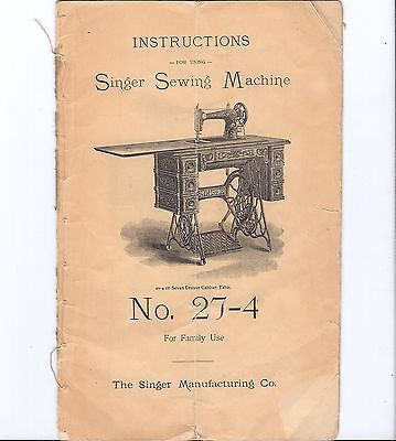 Original early 1900s Singer 27 Sewing Machine Instruction Manual