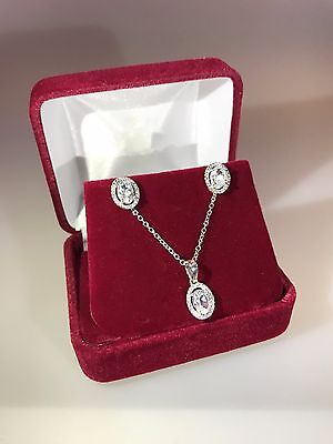 925 Sterling Silver White Topaz Oval Necklace and Earring Set with Diamonds