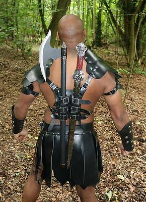 Real Leather Medieval Harness with Shoulders Sword Holder Armor pauldrons armour