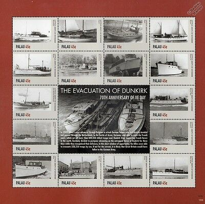 WWII The Evacuation of DUNKIRK Little Ships 16v Stamp Sheet #2 (2015 Palau)