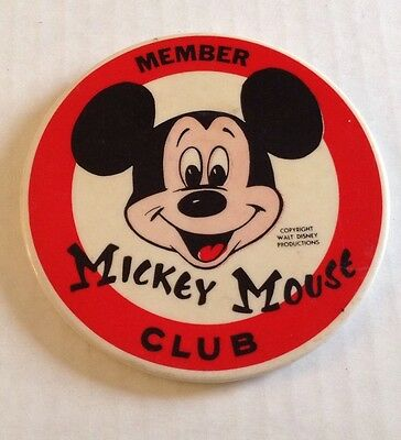 "Vintage Walt Disney Member Mickey Mouse Club Pinback Button Badge 3.5"" Round"