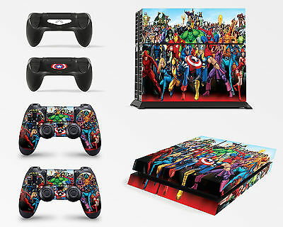PS4 Console Marvel Skin Decal Vinal Sticker + 2 Controller Skins Set
