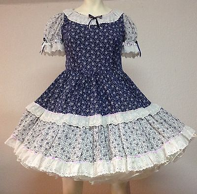 Blue And White Floral Vintage Square Dance Dress